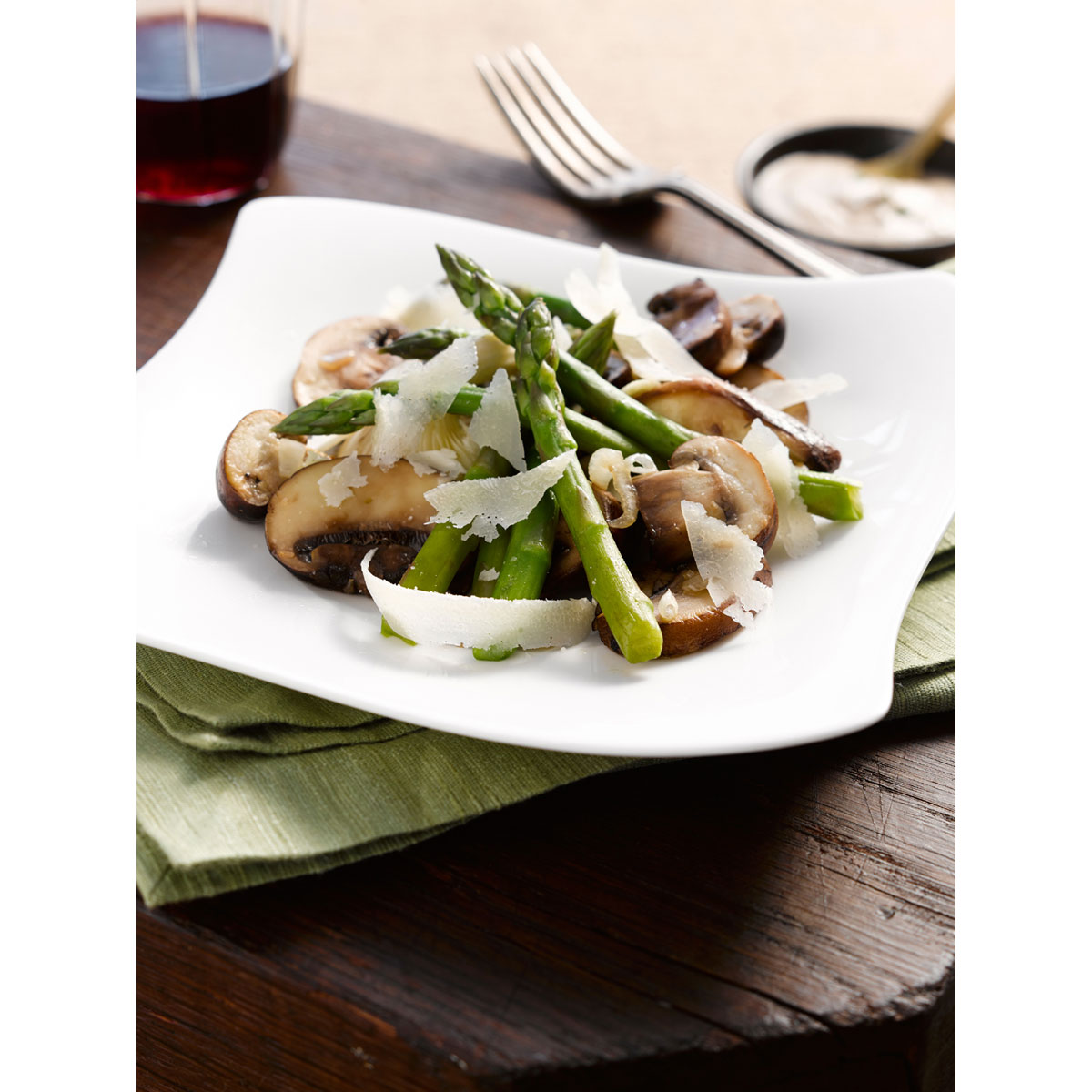 Asparagus and mushroom salad with creamy Grana Padano vinaigrette