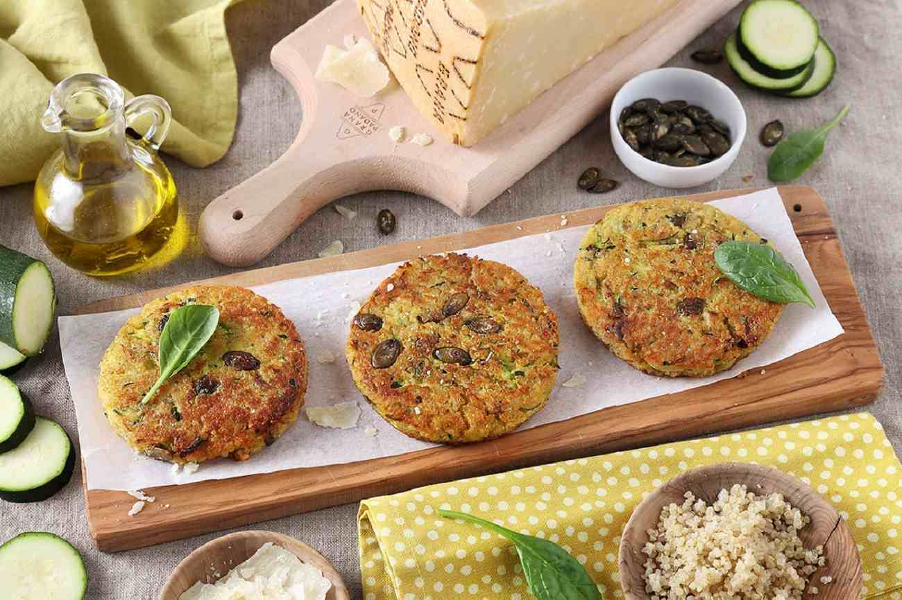 Veggie Burgers with Quinoa, Courgettes, Grana Padano PDO and Pumpkin Seeds
