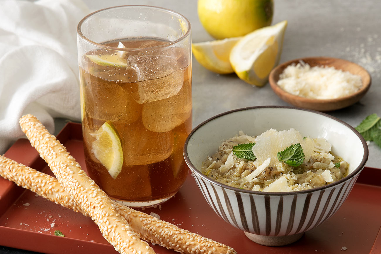 Ginger Iced Tea and Aubergine and Grana Padano Dip