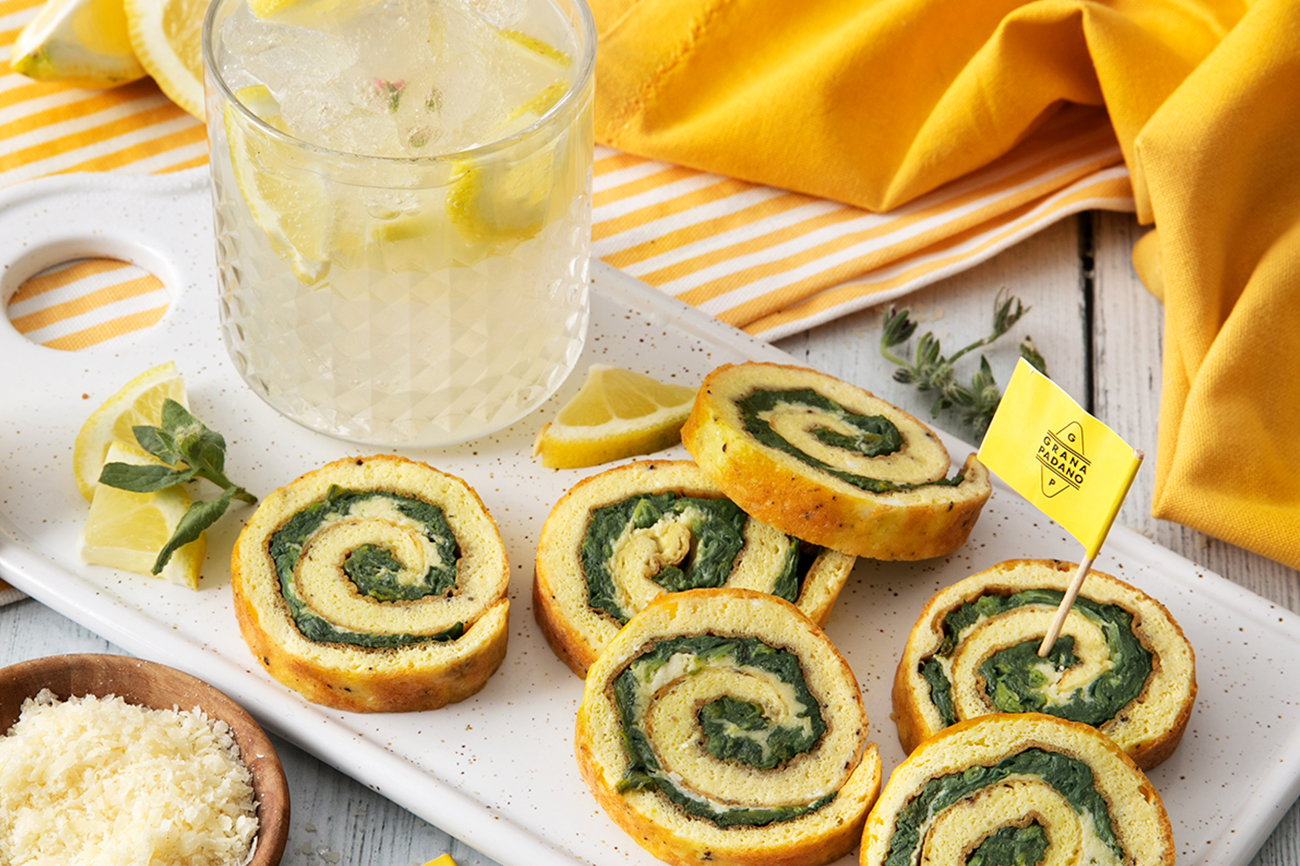 Borage Lemonade and Frittata Roll with Spinach and Grana Padano