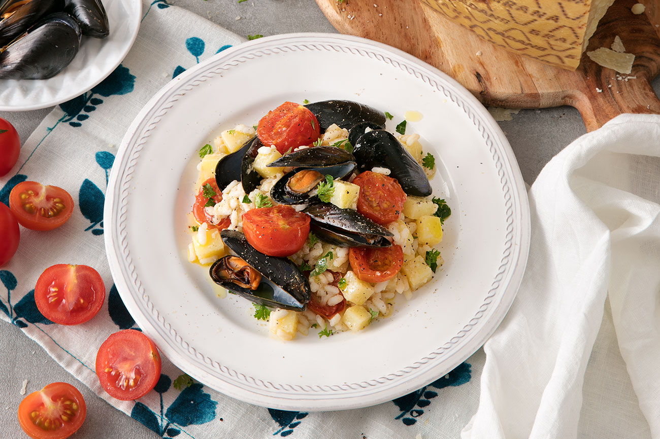 Rice with Mussels, Potatoes, Tomaotes & Grana Padano Riserva