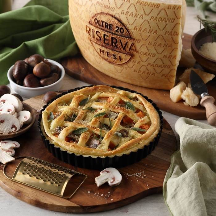 Savoury Tart with Mushrooms, Chestnuts, Pumpkin and Grana Padano Riserva