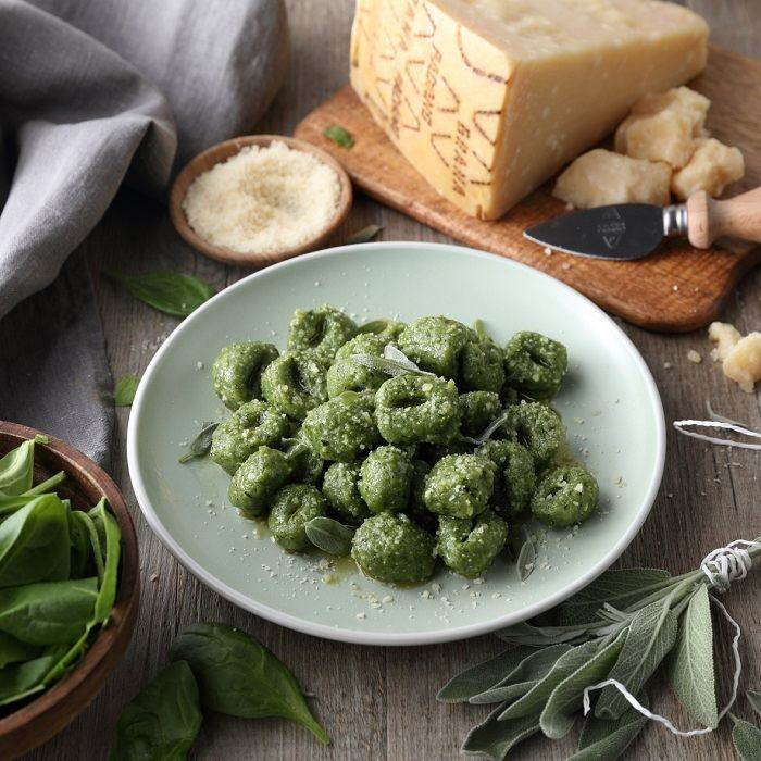Spinach Gnocchi with Grana Padano, Butter and Sage