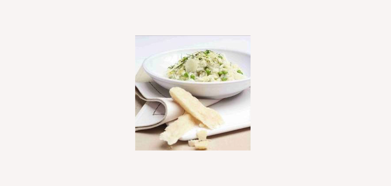 Grana Padano risotto with lemon, dill and peas