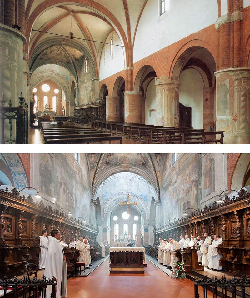 Indoor naves of Chiaravalle Abbey (above)<br>Choir of Chiaravalle Abbey (below)