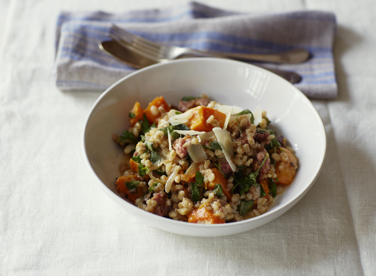 Orzotto with Grana Padano, tuscan sausage, pumpkin and porcini