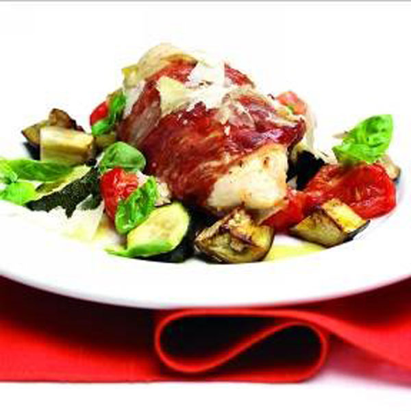 Prosciutto-wrapped chicken breasts stuffed with Grana Padano