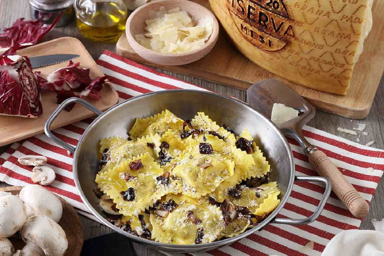 Mushroom Ravioli with Sautéed Radicchio and Grana Padano PDO RISERVA