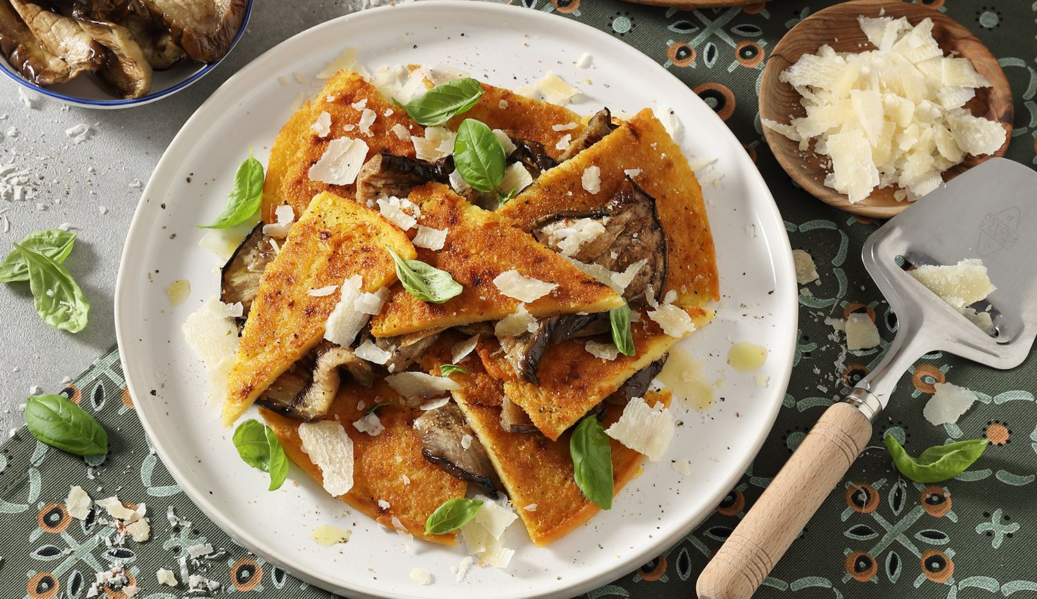 "Chickpea ""Farinata"" with Aubergines in Oil and Shavings of Grana Padano Riserva"