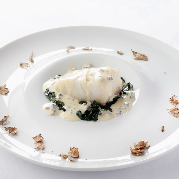 Cod fillet with Grana Padano 16 months, black truffle and spinach