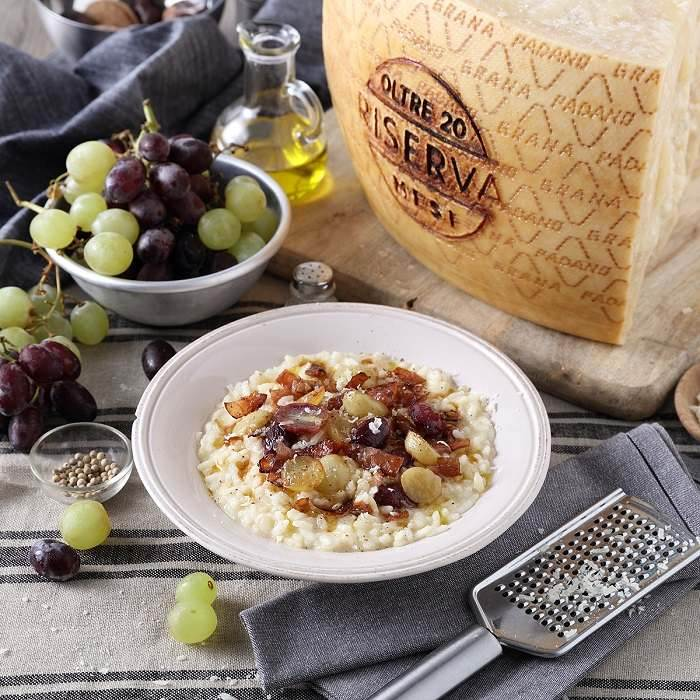 Risotto with Grapes, Prosciutto and Grana Padano PDO RISERVA