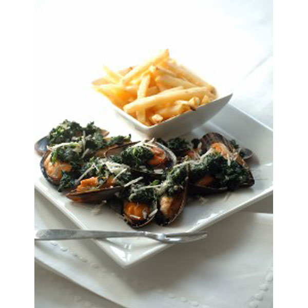 Spinach and Grana Padano stuffed mussels recipe