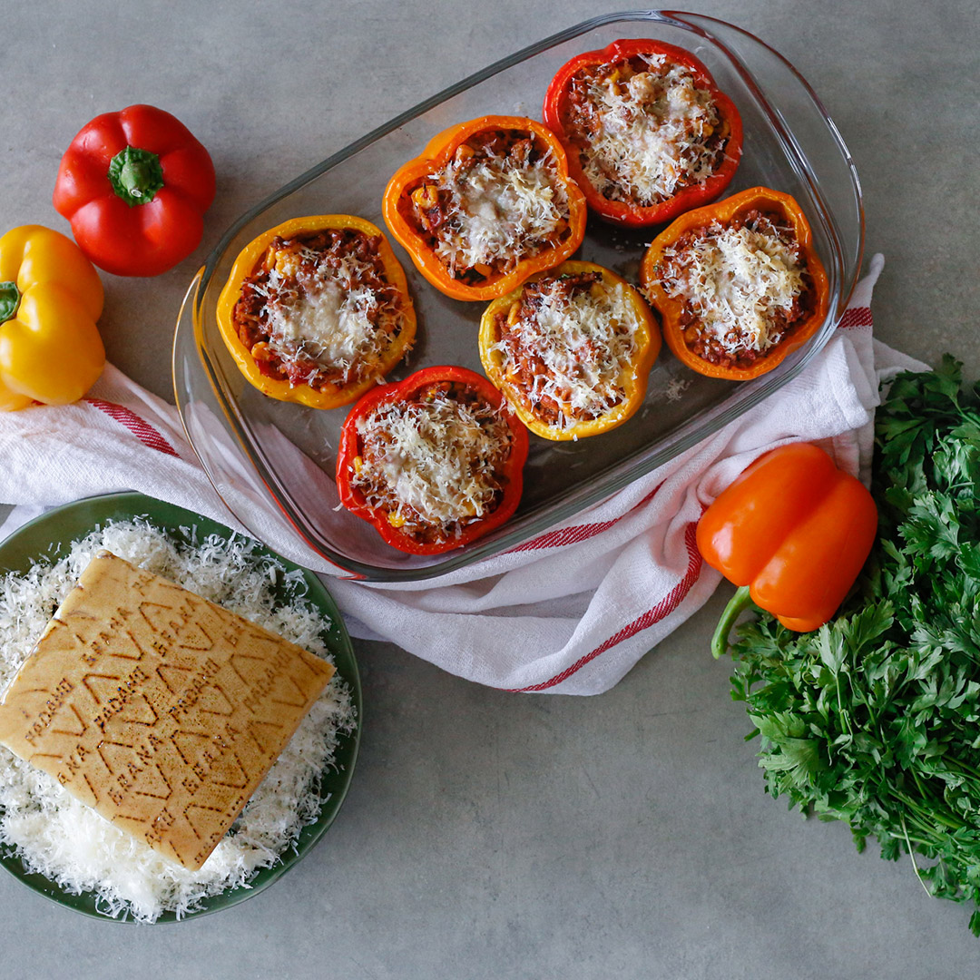 Stuffed Bell Peppers with Grana Padano Cheese