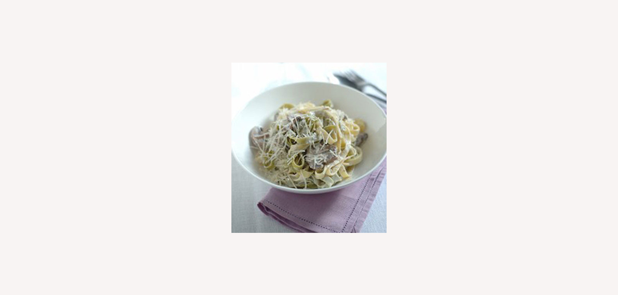 Tagliatelle with chestnut mushrooms and Grana Padano cream