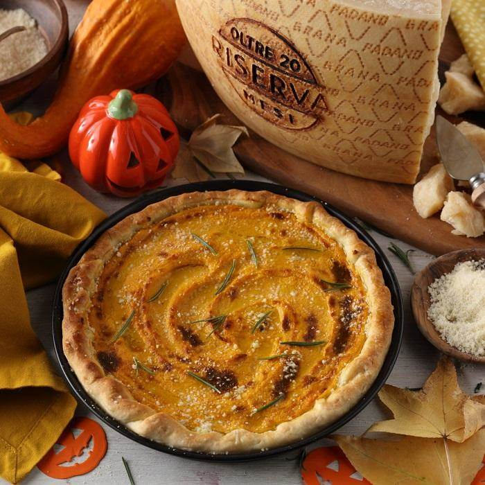 Savoury Pumpkin and Rosemary Tart with Grana Padano Riserva