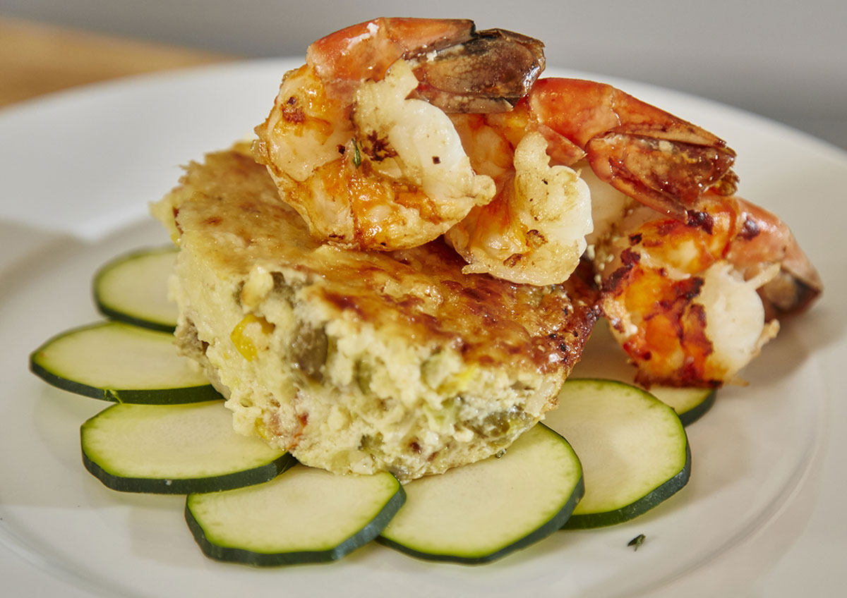 Zucchini/Courgette Flan with Scampi and Olive Vinaigrette